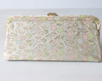 Vintage Floral Brocade Evening Formal Handbag / Clutch / Evening Purse / Pink Blue Green Pastels
