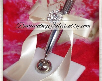 Romantic Satin Wedding Guestbook Pen with Rhinestone Accent...You Choose Colors.... shown in silver pen/ivory/ivory