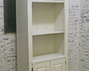 Bookcase, Distressed White Cottage Style CB902 Shabby Vintage Farmhouse Chic, Book Shelf