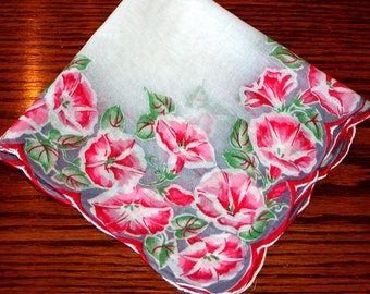 Vintage LADIES FLORAL HANKIE Morning Glories Cotton Handkerchief Pink & Gray on White Scalloped Edges Women's Accessories Shabby Chic