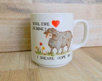 Vintage Mug Wool Ewe Be Mine sheep, Coffee Mug, Novelty Mug, teacup, white Ceramic