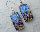 Dichroic Fused Glass Earrings - Glass Earrings - Dichroic Earrings - Dichroic Jewelry - Cute Earrings - Blue Earrings X7065