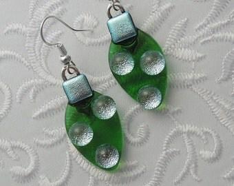 Christmas Ornament Earrings - Christmas Bulbs - Christmas Decorations - Dichroic Fused Glass - Christmas Jewelry - Christmas Earrings X1154