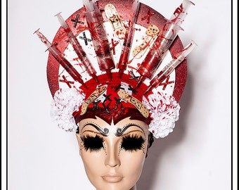 Hello Nurse.... Syringe Halo Headdress With Carnations and Band-Aids Day Of The Dead Macabre Gothic Red and White Medical