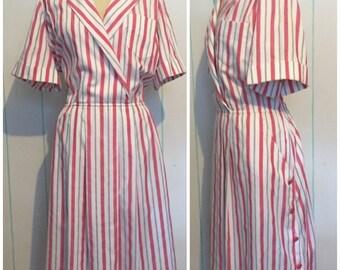 Pink Striped Shirt Dress Size 22