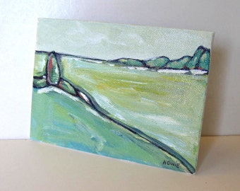 Acrylic Landscape Painting, Green trees canvas, Impressionist, Contemporary Abstract Art, Fields, Modern home decor,  5 x 7 Gift Idea