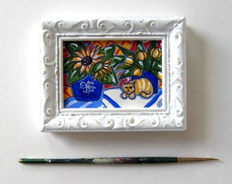 """Sunflowers and Tulips painting, Tabby Cat, 3 1/2"""" x 4 1/2"""", white Shabby Frame, French Country decor, gift idea"""