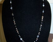 CLOSING SALE Black and Grey Swarovski Crystal and Pearl Necklace