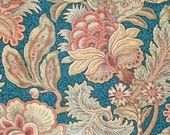 Summer SALE- Antique Fabric French Cotton Botanical Fabric