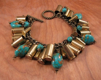 Bullet Jewelry - Mixed Brass 9mm and 22 Caliber Bullet Casing Charm Bracelet with Turquoise Beadwork - A SureShot Original Design