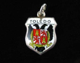 Charm, Toledo, 800 Silver, Coat of Arms, Travel Shield, Enamel Ohio Charm