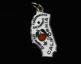 Charm, California State, White Enamel, Souvenir, State Cut Out, Enameled Jewelry, Travelers Charm