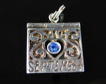 Charm, September, You Are Inspiring, Sterling Silver, Blue Rhinestone, Birthday, Filigree Silver Charm