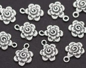 One Sterling Silver Rose Flower Charm Embellishment - R1S - smaller