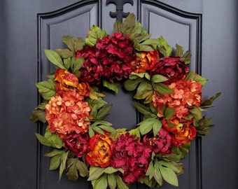 Fall Peony Wreath, Fall Hydrangea Wreath, Fall Autumn Wreaths, Fall Colored Wreaths, Wreaths for Fall, Autumn Wreaths, Wreaths for Autumn