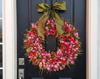 Red and Pink Tulips, Front Door Tulip Wreath, Pink Tulip Wreath for Door, Door Wreath Tulips, Red and Pink Tulips Door Wreaths