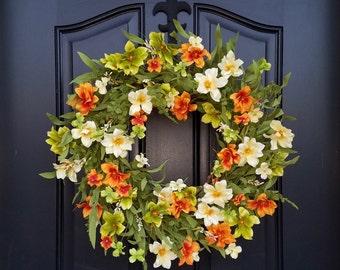 Wreath,  Summer Wreaths, Summer Wreath, Summer Front Door Wreaths, Orange Floral Wreath, Wreaths for Summer, Wreaths