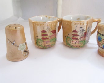 Vintage Yellow Lusterware Collection Tiny Cups Pitcher Salt Shaker 4 Pieces