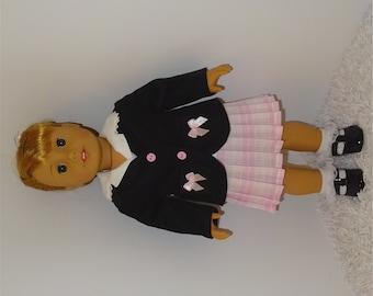 Black Blazer, Pink Pleated Skirt and Shirt Set, Fits 18 Inch American Girl Dolls