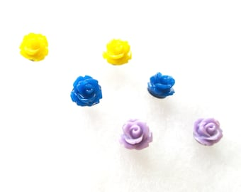 Small Rose Stud Earrings Three Sets in Royal Blue, Yellow and Pale Purple