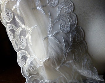 SALE IVORY Beaded Lace Trim for Lyrical Dance, Ballet, Bridal, Garments, Costumes