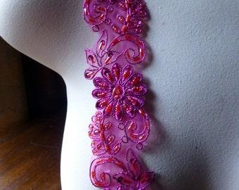"Fuchsia Beaded Trim 18""  for Lyrical Dance, Costume or Jewelry Design, Crafts TR 257fuchsia"