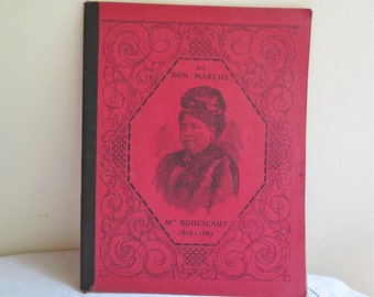French Composition Notebook Vintage 1920's Au Bon Marche Student Work Book Calligraphy,Math,Grammar