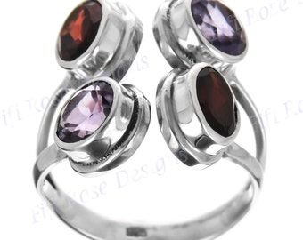 Gorgeous Amethyst Red Garnet 925 Sterling Silver Sz 6 Ring