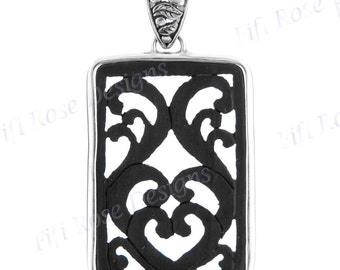 "2 3/8"" Wood 925 Sterling Silver Pendant"