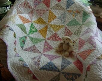 Grandmas Scrap Basket Pinwheel Baby Quilt