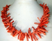 Apple Sponge Coral Spiked Bead Necklace, 1960s, Natural Earthy textured Reddish Branch Frangia Necklace