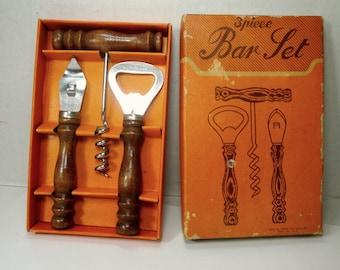1970s Boxed Bar Set, Bottle Opener, Corkscrew, Etc, Wood and Metal , Breweriana Man Cave Tools