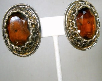 Medieval Amber Glass Clip Earrings, Thick Silver and Gold Renaissance Oval Earrings, Royalty, Thrones Games, 1980s