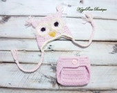 Newborn Baby Girl Crochet Owl Earflap Hat and Diaper Cover Set Furry Cream and Pink