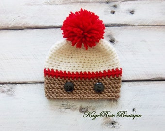Sock Monkey Newborn Baby Boy Crochet Pom Pom Hat Red Cream and Brown