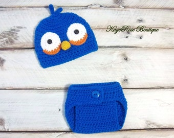 Angry Birds Inspired Newborn to Three Month Old Baby Crochet Hat and Diaper Cover Set Blue Bird