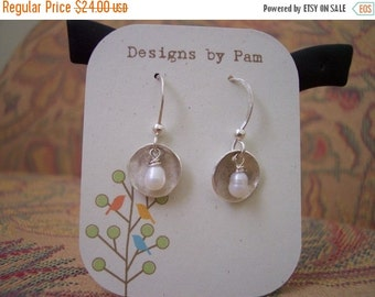 ON SALE Sterling Silver Disk and Freshwater Pearl Earrings