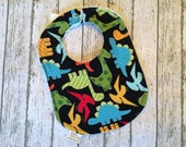 Teething Infant Bib   Black and Bright Colors Dinosaur Fabric   Pale Blue chenille backing