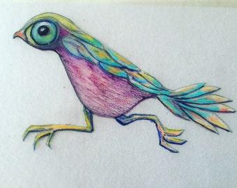 Running Bird!  Print on wood panel.