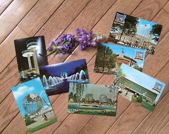 Set of 7 vintage 1964 New York World's Fair postcards - unused - Observation Towers, Unisphere