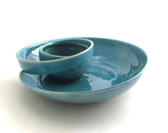 Made to Order Handmade Pottery Swirling Chip n Dip in Robins Egg Blue