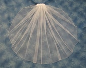 Diamond White First Communion Veil Satin Flowers on Clip Barrette 1 Tier Veil with Silver Beaded Edge  23 Inches Long  80414