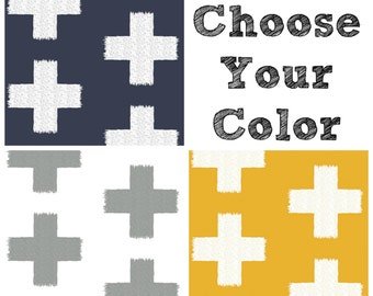 Fitted Crib Sheet or Changing Pad Cover - Plus Signs on Mustard, Navy or Grey - Swiss Cross