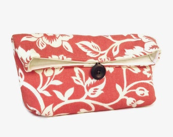 Coral and Ivory Floral Clutch, Spring Wedding Bag Purse, Bridesmaid Gift, Bridesmaid Clutch, Coral Clutch, Pink