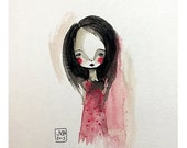 SUMMER SALES EVENT 5x7 Fine Art Print - 'Catherine' - Small Sized Giclee art print by Jessica von Braun on etsy - Girl in red Polka Dot Dres