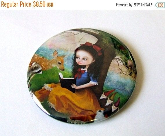 "SUMMER SALES EVENT Pocket Mirror - ""Snow White"" - Small Round Art Mirror featuring Fairy Tale Art by Jessica Grundy"