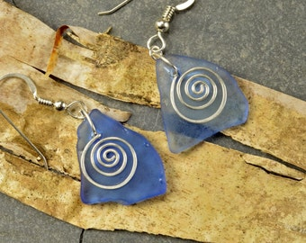 Light sky blue triangular shaped authentic Maine sea glass and sterling silver handforged spiral earrings eco friendly and one of a kind