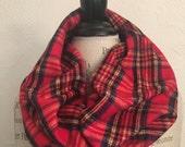 SALE Rustic Tartan Scarf Red Plaid cotton circle scarf Cowl Scarf  Fall Winter Fashion Accessory - Ladies Teens - Custom Made