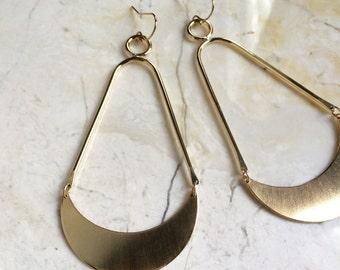 Crescent moon hoops. Long. Large Brass Earrings. Teardrop Statement Earrings. Bold Earring. Large Gold Earrings. Moon Dangles. Modern. Bold