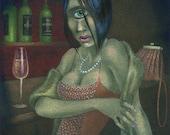 "Original painting: ""Mrs Cyclops, Lately Widowed"" - miniature in gouache & watercolour"